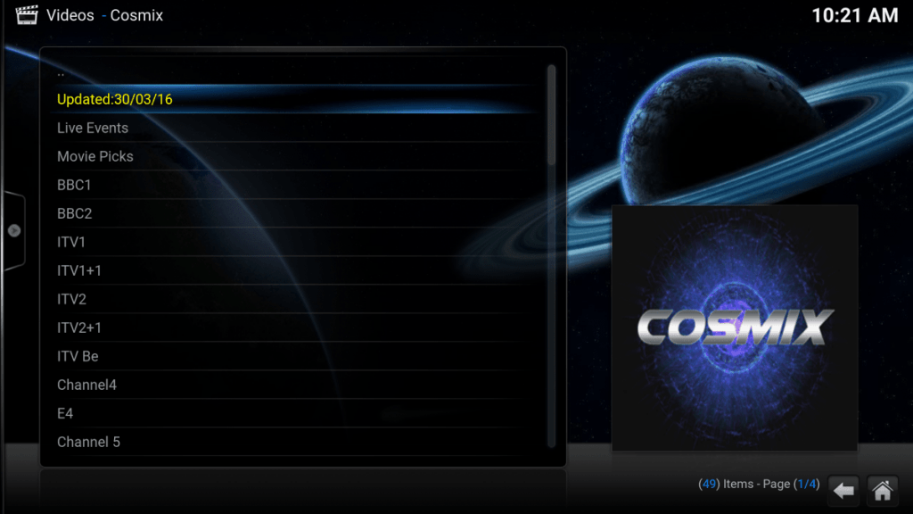 cosmix addon for kodi